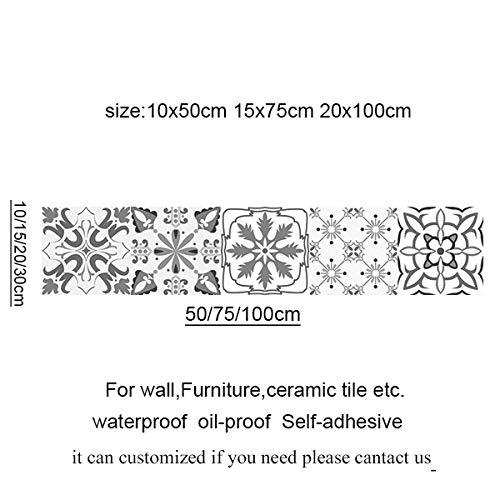 Tamaño personalizado Vintage Pegatinas de azulejos autoadhesivos impermeables Mosíico marroquí Vinilantes de pared Etiqueta engomada estilo 20x100 gris contemporáneo ( Color : 2 , Size : 15x75cm )