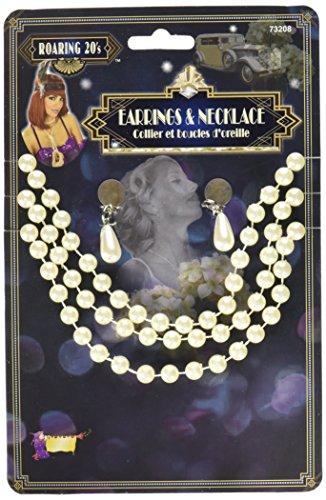 Forum Novelties - AC5527 - Set boucles d'oreilles et sautoir perles beiges