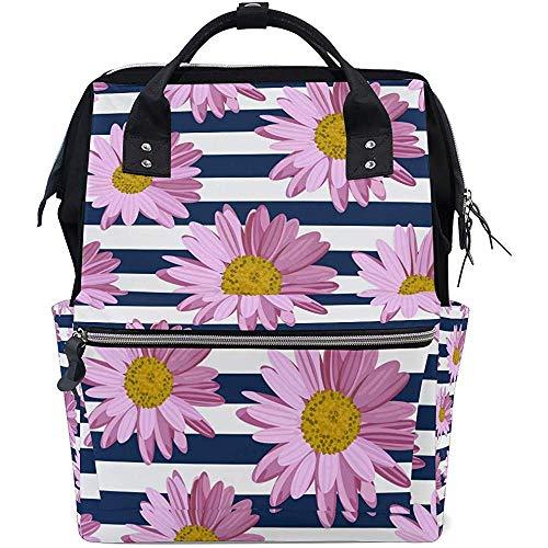Sac De Livre Daisy Flower Casual Diaper Backpack Grande Capacité Multi-Function Baby Bags Zipper Travel Unisex Backpacks Mom Dad 28X18X40Cm