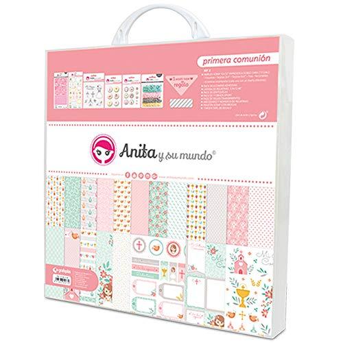 Anita y Su Mundo Primera Comunión Niña Kit Scrapbooking Maletín, Rosa, 30,5x30,5cm, 8
