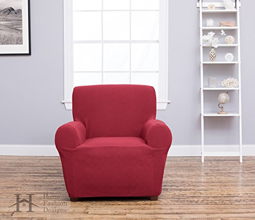 Home Fashion Designs Form Fit, Slip Resistant, Stylish Furniture Shield/Protector Featuring Plush, Heavyweight Fabric. Cambria Collection Deluxe Strapless Slipcover Brand. (Chair, Burgundy)