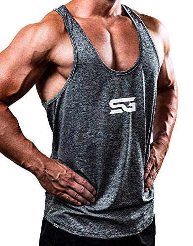 Satire Gym Fitness Stringer Herren - Funktionelle Sport Bekleidung - Geeignet Für Workout, Training - Tank Top (grau meliert, L)
