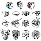 PANTIDE 15Pcs Vintage Punk Rings Set, Stainless Steel Gothic Alloy Biker Adjustable Rings, Skeleton Skull Evil Eye Chinese Dragon Claw Octopus Dragon Rings, Fashion Retro Black Silver Antique Jewelry