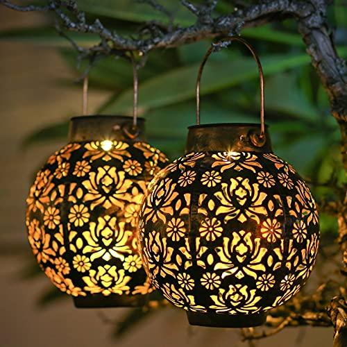 Solar Lanterns Outdoor Waterproof Solar Lanterns Outdoor 2pack Outdoor Garden Lights Solar Lanterns Outdoor Decorative for Garden…
