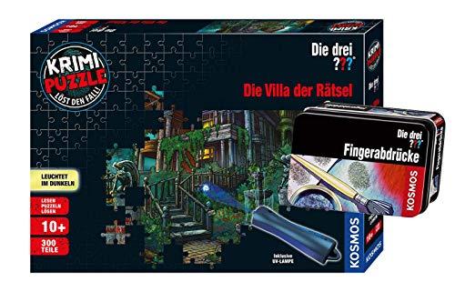 Franckh-Kosmos Verlag Die DREI ??? - Set: Die Villa der Rätsel (Krimi Puzzle) + Forscherkästchen (Verschiedene Auswahl)