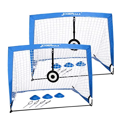 JOGENMAX Portable Soccer Goal, Pop Up Goal Nets with...