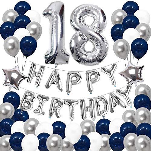 SUNPAT Decoraciones de 18 Cumpleaños, Feliz Cumpleaños Banner Kit Número 18 Set de Decoraciones de Fiesta Con Globos de Ppapel de Aluminio Azul y Astilla Para Hombres