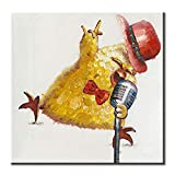 FLY SPRAY Oil Paintings Canvas Wall Art Cool Hipster Cute Yellow Chicken Singing Rock Animal Painting Framed...