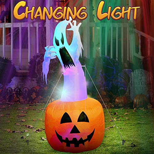 AerWo 6Ft Halloween Inflatables Blow Up Yard Decorations, Upgraded Ghost on Pumpkin Inflatable with Gradient LED Lights for Halloween Decorations Outdoor