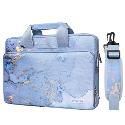 MOSISO 360 Protective Laptop Shoulder Bag Compatible with MacBook Pro 16 inch A2141/Pro Retina A1398, 15-15.6 inch Notebook, Water Repellent Watercolor Marble Sleeve Case with Trolley Belt, Blue