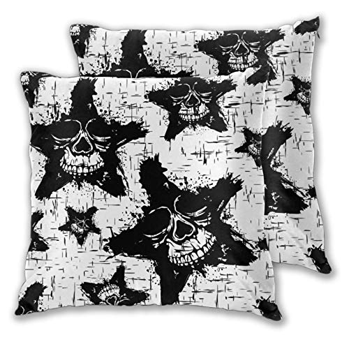 QYUESHANG Throw Pillow Covers,Set of 2,Illustration Abstract Black And White SkullsDecorative Square Cushion Case for Sofa Couch Bedroom Car 16'x 16'