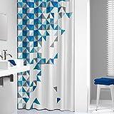 Sealskin Textil Duschvorhang Tangram, Farbe: Blau, B x H: 180 x 200 cm