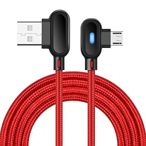 Cable Micro USB de ángulo Recto, Cable de Carga de Android Compatible con Sam-Sung Galaxy S7 / S6 Edge, HTC, Nokia, Sony y más (Rojo)