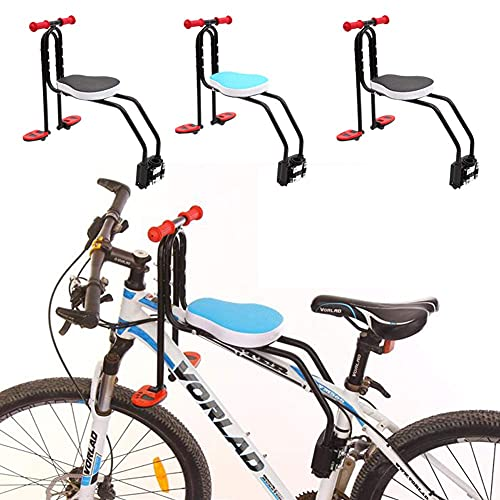 RVTYR Asiento de bicicleta para niños, asiento delantero, asiento en T, asiento delantero, bicicleta de montaña (color: azul)