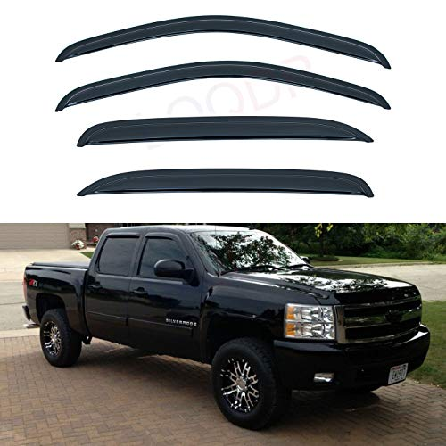 2007-2014 Silverado /& Sierra 2500HD//3500HD Extended Cab Lightronic WV94040 Tape-on Window Visors Rain Guards Smoke Tint 4PCS Set Fit for 2007-2013 Silverado /& Sierra 1500
