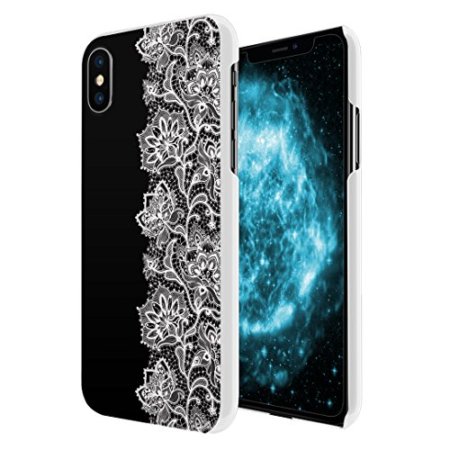 Capsule Case Compatible with iPhone X Ultra-Thin Slim Fit Snap-on White Hard Case for Apple iPhone X - (Black Lace)