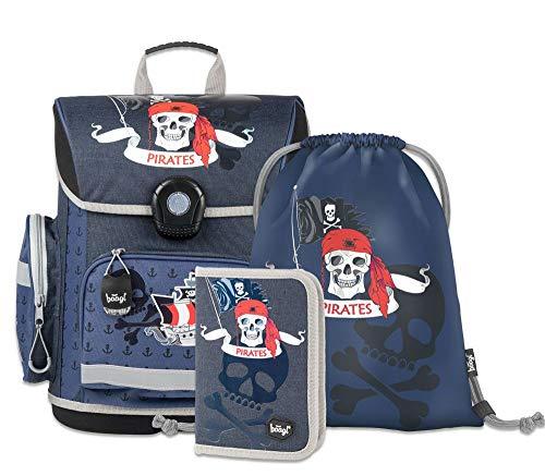 Schulranzen Jungen Set 3 Teilig - Schultasche ab 1. Klasse - Grundschule Ranzen mit Brustgurt - Ergonomischer Schulrucksack (Piraten)