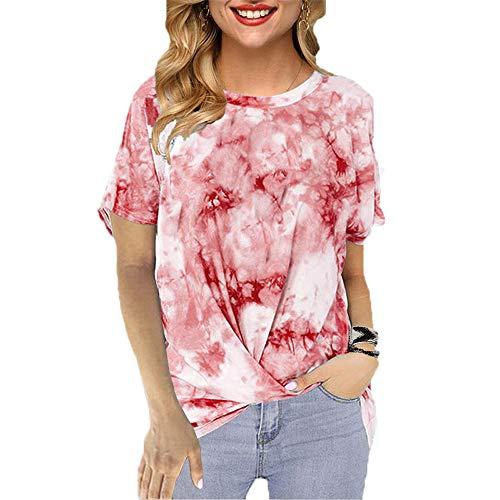 Camiseta Sin Mangas con Cuello Redondo Y Manga Corta con Cuello Redondo Y Estampado De Verano para Muje