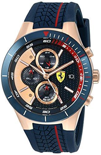 Ferrari 830297'Red Rev EVO Chrono de Cuarzo Dorado y Correa de Silicona
