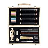 Conda Wood Art Set per disegnare schizzi per bambini principianti o artisti in custodia di legno