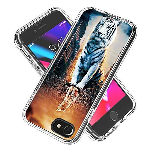 Coque iPhone 6s / 6 / iPhone 7/8, Silicone Bumper, Transparent PC + TPU Hybride Boîtier de Protection avec Carte de Mode (La réflexion)