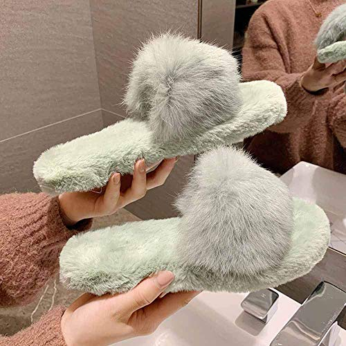 Faux Short Plush Flip Flop Ultra-Soft Flat Comfy Fur Slides met Arch Support Open Toe Flat Sandals Slippers voor Indoor Outdoor