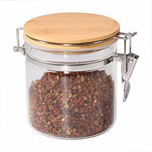 Tarro de almacenamiento de alimentos, (550 ml), 77L tarro de cristal con cierre hermético tapa de bambú, clip cristal blanco alimentos recipiente de almacenamiento para servir té, café, especias
