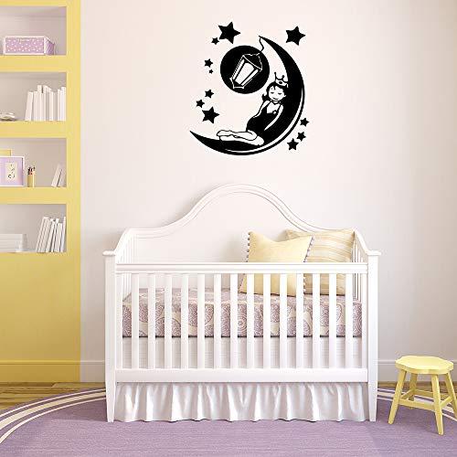 YuanMinglu Nette Gute Nacht Wandaufkleber Art Vinyl Applique Wand Art Deco 50x55CM