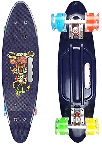 New DEJA 24-inch Vintage Skateboard,Complete Highly Flexible Plastic Cruiser Board with PU Flash Whe...