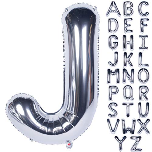 Letter Balloons 40 Inch Giant Jumbo Helium Foil Mylar for Party Decorations Silver J