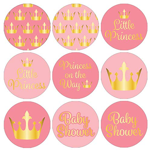 Pink and Gold Little Princess Baby Shower Party Favor Stickers (Set of 324)