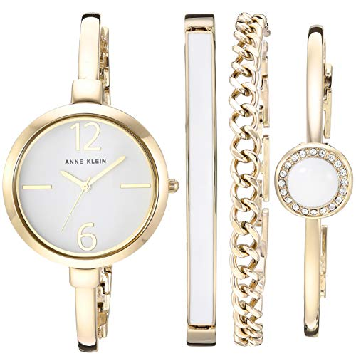 Anne Klein Women's AK/3290WTST Gold-Tone Bangle Watch and Bracelet Set