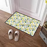 SCOCICI1588 Pet Mat Daffodils, Forget Me Not Flowers Rectangular Entryway Welcome Doormat Decorative Script Welcome Design 24 x 35 Inch