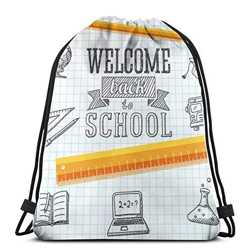Lsjuee Welcome Back to School MessageDrawstring Backpack Sports Fitness Backpack Waterproof Men's and Women's Waist Bag Travel Yoga Beach School
