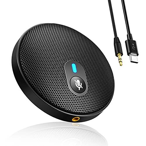 Micrófono de conferencia USB omnidireccional – Micrófono de condensador estéreo portátil para Micro PC y Mac con bolsa de polvo para videoconferencias, teletrabajo, juegos, clases en línea