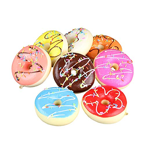Longpro Realistic Artificial Cake Fake Donuts for Display High Simulation Artificial Dummy Foods Studio Photo Prop DIY Decoration Accessories Artificial Dessert Food Toys Set of 8