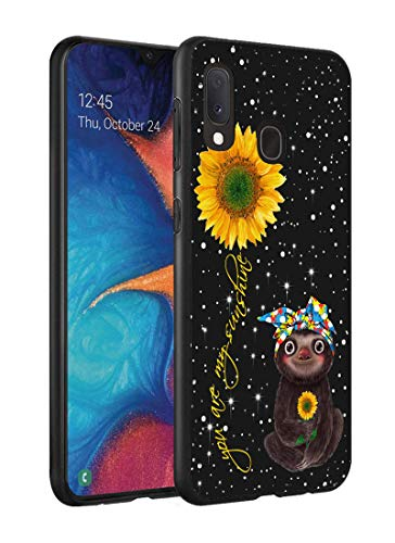 Galaxy A20 Case, Galaxy A30 Case, Slim Impact Resistant Shock-Absorption Silicone Protective Case Cover for Samsung Galaxy A20 (2019) / A30 (2019) - Sunflower and Sloth