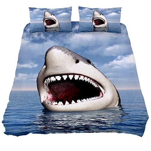 Eslifey Hungry Shark - Juego de funda de edredón y funda de edredón con cremallera para dormitorio