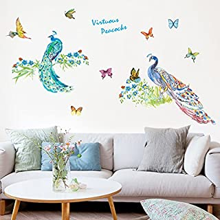 WOCACHI Wall Stickers Decals DIY Peacocks Removable Wall Decal Family Home Sticker Mural Art Home Decor Art Mural Wallpaper Peel & Stick Removable Room Decoration Nursery Decor