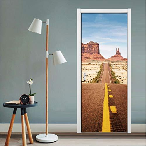Waterproof Self-Kleber PVC Door Decals Mural Wallpaper 3D Road Building Door Sticker for Living Room Schlafzimmer Home Decor Poster