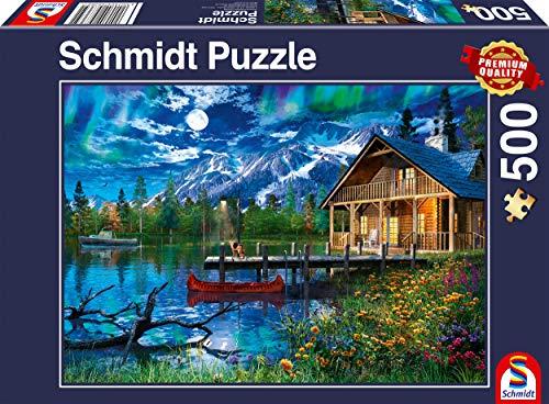 Schmidt Spiele Puzzle 58365 Bergsee im Mondlicht, 500 Teile Puzzle, bunt