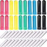 Onwon 24 Pcs Essential Oil Aromatherapy Inhaler Tubes, Refillable Nasal Inhaler Blanks with Unscented Wicks, Assorted Colors