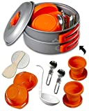 Camping Cookware Kits - BPA-Free Non-Stick Anodized Aluminum Mess Kits - Complete Lightweight Mini...