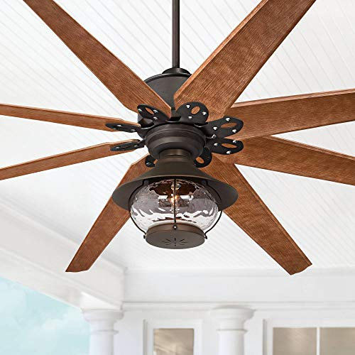 """72"""" Predator Outdoor Ceiling Fan with Light LED English Bronze Cherry Blades Hammered Glass Lantern Damp Rated for Patio Porch - Casa Vieja Casa Ceiling Fans Free Shipping Vieja"""