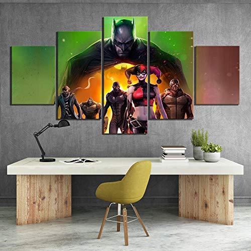 5 Stück Hd Cartoon Movie Poster Gemälde Batman Assault On Arkham Bild Leinwand Gemälde Wandkunst Für Wohnkultur(NO Frame size 3)