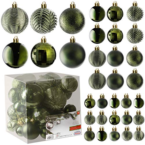 Prextex Atrovirens Christmas Ball Ornaments for Christams Decorations - 36 Pieces Xmas Tree Shatterproof Ornaments with Hanging Loop for Holiday and Party Deocation (Combo of 6 Styles in 3 Sizes)