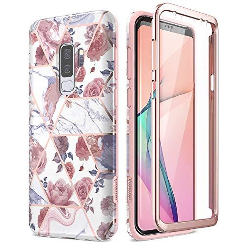 SURITCH Kompatibel mit Samsung S9 Plus Hülle Silikon Hüllen mit Integriertem Displayschutz 360 Grad Bumper Stossfest Handyhülle Schutzhülle für Samsung Galaxy S9 Plus Blume