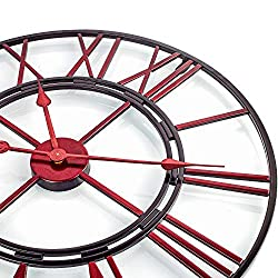 BEW Large Metal Wall Clock, Red Iron Skeleton Vintage Antique Decorative Roman Wall Clock, Silent Open-Faced Indoor Wall Clock for Living Room, Dining Room, Loft, Apartment, Den - 24 Inch