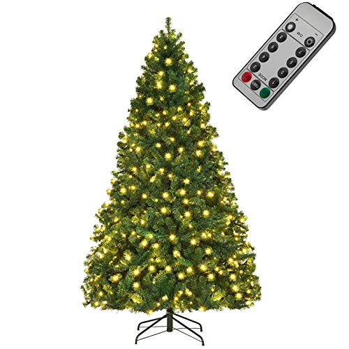 DFANCE Pre-Lit Artificial Christmas Tree, Xmas Pine Tree with LED Lights and Folding Metal Stand for Indoor Outdoor Holiday Decoration, Easy Assembly,180cm/6ft