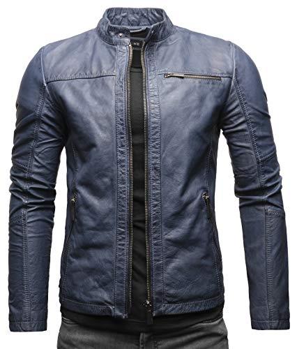 Crone Epic Herren Lederjacke Cleane Basic Leder Jacke in vielen Varianten und Farben (XXL, Steel Blue (Rindsleder))